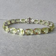 "BIG Cushion Cut Peridot Sterling Silver 8"" Long Vintage Bracelet"