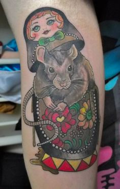 Bildergebnis für traditional mixed with watercolor tattoo Russian Doll Tattoo, Nesting Doll Tattoo, Rat Tattoo, Strong Tattoos, Mouse Tattoos, Sweet Tattoos, Cute Mouse, New Energy, Custom Tattoo