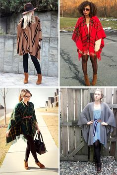 DIY blanket poncho: give a tired blanket a new lease of life! Or check out your local Red Cross store - we often stock some. Diy Clothing, Sewing Clothes, Diy Fashion, Autumn Fashion, Fashion Advice, Blanket Poncho, Plaid Blanket, Diy Kleidung, Diy Mode