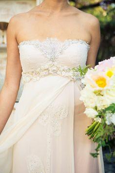 Pale pink wedding dress.