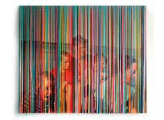 photo drips series by artist Markus Linnenbrink - used rainbow hued color-tinted drips of epoxy over photographs mounted on wood.