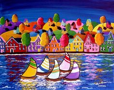 Fall Sailboats Trees Houses Waterfront Canvas Whimsical Colorful Folk Art Painting via Etsy
