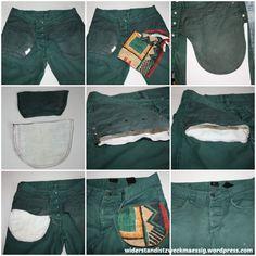 widerstandistzweckmaessig: Reparatur Jeanshosentasche [Anleitung] Black Jeans, Bomber Jacket, Pants, Jackets, Collage, Tips, September, Shorts, Sewing
