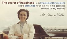 Modern-day mother and pediatrician St. Gianna Molla's feast day is April 28. Pray for us, St. Gianna! (Image from PilgrimCenterOfHope.org)
