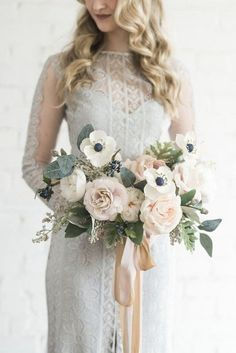 Wedding Color Trends 45 Neutral Spring Wedding Color Ideas - ivory and blush neutral wedding bouquet with ribbon // Discovered by WEDDINGS BY WEAVER Neutral Wedding Colors, Spring Wedding Colors, Autumn Wedding, White Anemone, Deco Floral, Bride Bouquets, Flower Bouquets, Spring Flower Bouquet, Bridal Flowers