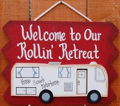 """8 1/2"""" x 11 3/4"""" Tell your family and friends, that your motorhome is your """"Rollin' Retreat"""". Welcomethem to your RV with this beautiful painted, woodcampingsign. Motorhome sign is painted withred exterior paint. The edges of this sign, areshaded a darkerred. """"Rollin' Retreat"""", ispaintedin white letters. Our entire line of camping signs arepainted with exterior house paint. They hold up incredibly well to outdoors.The motorhome is a..."""