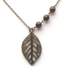 Antiqued Brass Leaf Tiger Eye Necklace.