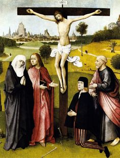 BOSCH, Hieronymus / Crucifixion with a Donor 1480-85 / Oil on oak, 74,7 x 61 cm Musees Royaux des Beaux-Arts, Brussels