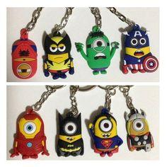 Despicable ME 2 Minion x Marvel Super Heroes Keychain Key Ring Avengers Batman