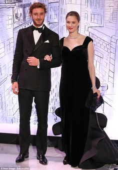 Black tie brilliance: Pierre Casiraghi and wife Beatrice donned matching black ensembles...