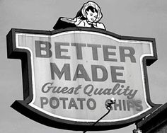 Better Made potato chips and snacks- they all taste so good! You should also be aware that Detroit consumes more potato chips than any other U. Glad we have a great company right here to make them! Detroit History, Detroit Art, Metro Detroit, Detroit Food, Local History, State Of Michigan, Detroit Michigan, Michigan Accent, Better Made Chips