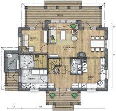 RAUHALA 153 - Kannustalo Sweet Home, Floor Plans, Flooring, How To Plan, Sims, Building, House, Dreams, House Beautiful