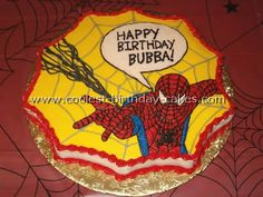 Spiderman Birthday Cake Idea-like the comic book word bubble only.