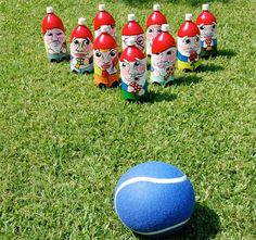 yard bowling diy (won't be painting the gnomes, maybe just numbers)