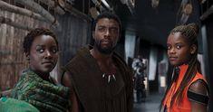 Chadwick Boseman, Lupita Nyong'o and Letitia Wright in Black Panther
