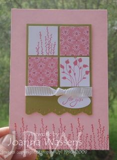 Here is a card that I was inspired to create from a swap I received at Stampin' Up! convention from Sue Madex. Thanks Sue! I have changed the colours, added patterned paper (the lovely Raspberry Tart) and ribbon and used...