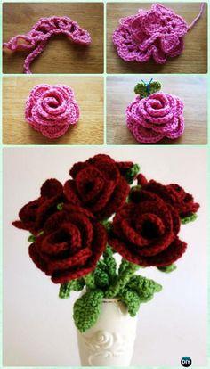 Crochet Rose Flower Bouquet Free Pattern-Crochet 3D Flower Bouquet Free Patterns