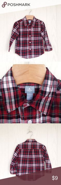 Baby Gap Plaid Holiday Shirt Perfect shirt for Christmas pictures! Long sleeve cotton woven shirt. Button front closure. GAP Shirts & Tops Button Down Shirts
