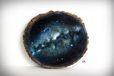 Wood Slice Painting Space Art Space Painting by KanoelaniArt