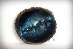 Wood Slice Painting Space Art Space Painting by KanoelaniArt
