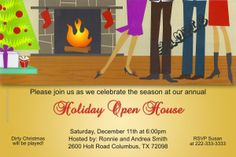 Christmas Open House Invitations - Get these cards RIGHT NOW. Design yourself online, download and print IMMEDIATELY! Or choose my printing services. No software download is required. Free to try!
