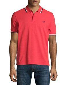 Contrast-Tipped Pique Polo Shirt