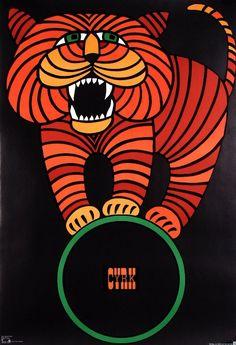 Tiger on CYRK Ball. Original Polish cyrk poster  designer: Hubert Hilscher  1966/printing date: 1979