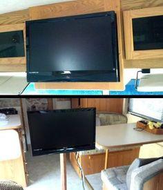 RV TV Mount Installation Ideas and Resource - Camper Life Camper Life, Rv Life, Rv Tv Mount, Tv Placement, Rv Upgrades, Rv Homes, Motor Homes, Normal House, External Lighting