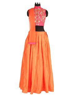 Elegant orange silk lehenga choli in choli blouse top new western look for wedding season