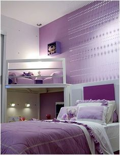 Do you want to decorate a woman's room in your house? Here are 34 girls room decor ideas for you. Tags: girls bedroom ideas, girls room decor pink, baby girl room ideas, teen room decor, teenage g Lilac Bedroom, Purple Bedrooms, Dream Bedroom, Bedroom Colors, Diy Bedroom, Bedroom Styles, Purple Girl Rooms, Bedroom Ideas Purple, Bedroom Loft