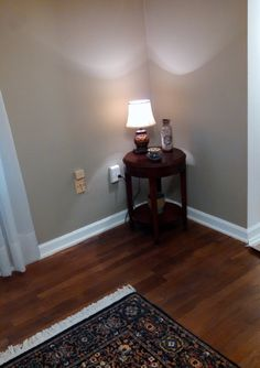 table and lamp in dining room