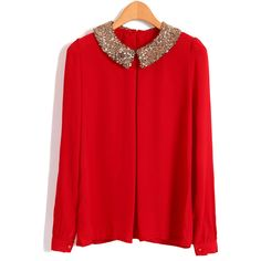 Paillette Collar Red Chiffon Blouses With Keyhole ($33) ❤ liked on Polyvore