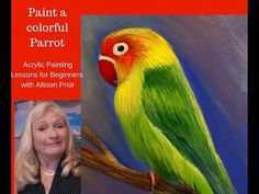How to Paint a PARROT with Acrylic Paint LESSON 1 for beginners, , backround and drawing the parrot - YouTube