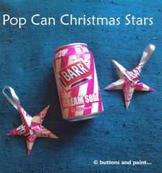 How to make recycled tin can star Christmas ornaments | Recycled Crafts | CraftGossip.com Pop Can Crafts, Xmas Crafts, Christmas Projects, Recycling, Recycle Cans, Reuse, Aluminum Can Crafts, Aluminum Cans, Metal Crafts