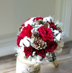 Wed in Winter dried flower bouquet, preserved red roses