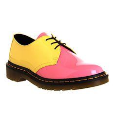 Dr. Martens 3 Eyelet Shoe Acid Pink Yellow Orange Exclusive - Flats