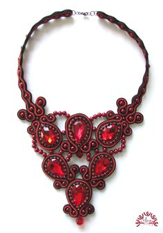 Soutache necklace Red Glamour
