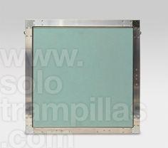 Trampilla de yeso laminado en placa de 13 mm, detalle frontal