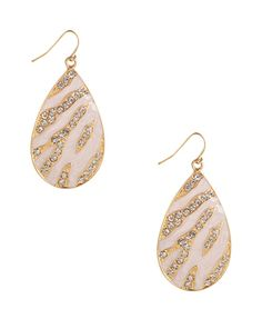 A pair of teardrop earrings featuring a rhinestoned pattern with shimmering lacquered detail. High polish trim. Fish hook back. Medium in weight.