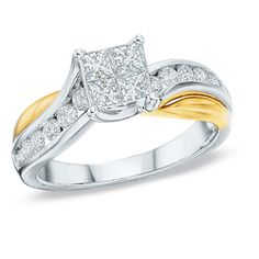1.00 CT. T.W. Princess-Cut Quad Diamond Engagement Ring in 14K Two-Tone Gold