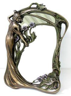 STANDSPIEGEL-WANDSPIEGEL-JUGENDSTIL-Frauenfigur-bronze
