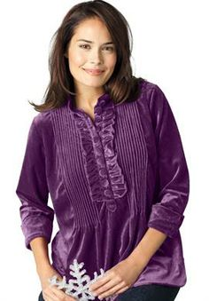 Velour tunic with mini pleats | Plus Size Tops & Tees | Woman Within
