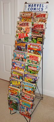 vintage marvel comics display rack – Visit to grab an amazing super hero shirt now on sale! Comic Book Rooms, Comic Books Art, Comic Art, Comic Book Storage, Comic Book Display, Marvel Room, Marvel Comics, Ec Comics, Pool Bar