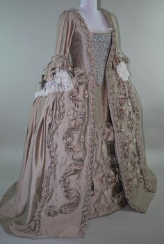 Century Rococo Gown Robe a la Francaise embroidered stomacher 18th Century Dress, 18th Century Costume, 18th Century Clothing, 18th Century Fashion, Old Fashion Dresses, Old Dresses, Vintage Dresses, Vintage Outfits, Rococo Fashion