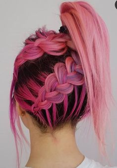 High Ponytail With Braids ? Check out our list of the best easy braided hairstyles! : High Ponytail With Braids ? Check out our list of the best easy braided hairstyles! Sporty Hairstyles, Box Braids Hairstyles, Pretty Hairstyles, Black Hairstyles, High Ponytail Braid, Cool Hair Color, Hair Colors, Pink Hair, Hair Trends