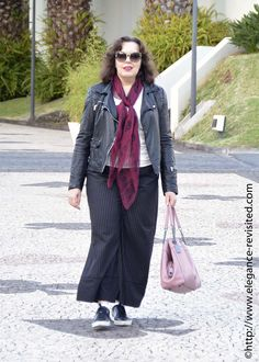 biker jacket and cropped trousers