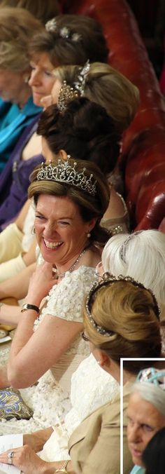 Lovely tiaras, all in a row. Peeresses at the at the opening of Parliament 2012. Bottom right, Baroness Geddes wearing the Hesse Moonstone and Turquoise Tiara . Her husband inherited from his aunt Margaret (Geddes), Grand Duchess of Hesse, who was married to Ludwig, younger son of Grand Duke Ernst of Hesse, grandson of Queen Victoria, who became grand duke on the death of his brother.