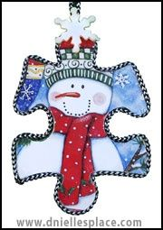 snowman puzzle piece Christmas ornament craft