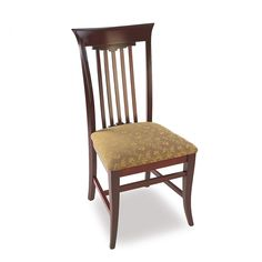 """Beech wood frame and upholstered seat and back, with exposed brass nail trim.  [share title=""""Share with friends"""" socials=""""facebook, twitter, google, pinterest, bookmark"""" class="""""""" icon_type="""""""" ]"""