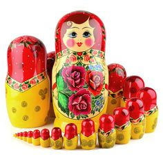 20 pcs. Traditional Red Roses Nesting Doll   Traditional babushkas   The Russian Store